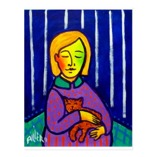 Little Girl and Cat by Piliero Postcard