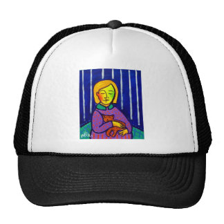 Little Girl and Cat by Piliero Trucker Hat
