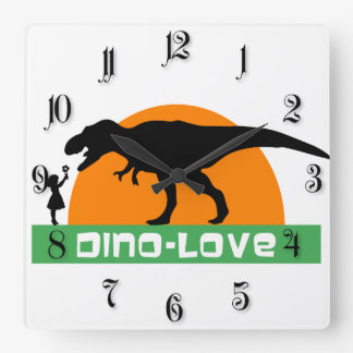 Little girl and dinosaur square wall clock