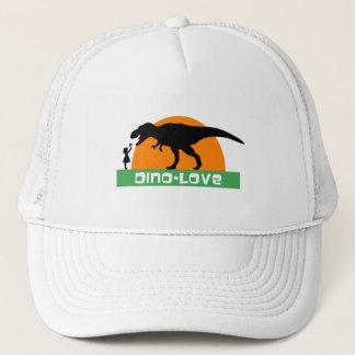 Little girl and dinosaur trucker hat
