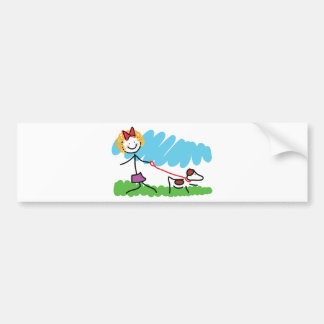 Little Girl and Dog Drawing Bumper Sticker