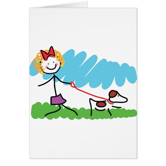 Little Girl and Dog Drawing Card