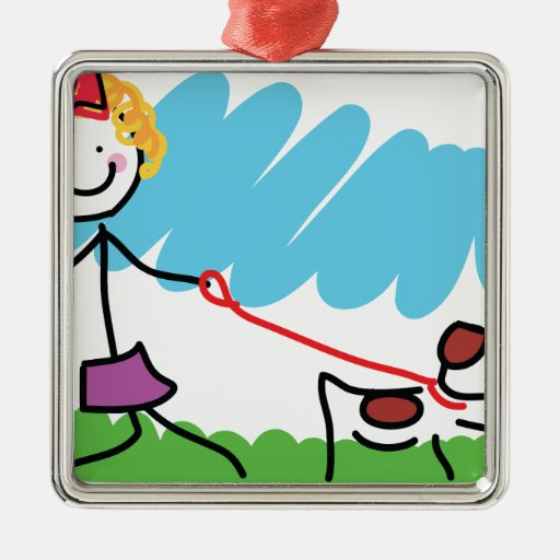 Little Girl and Dog Drawing Metal Ornament