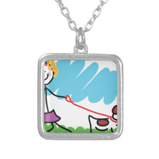 Little Girl and Dog Drawing Personalized Necklace