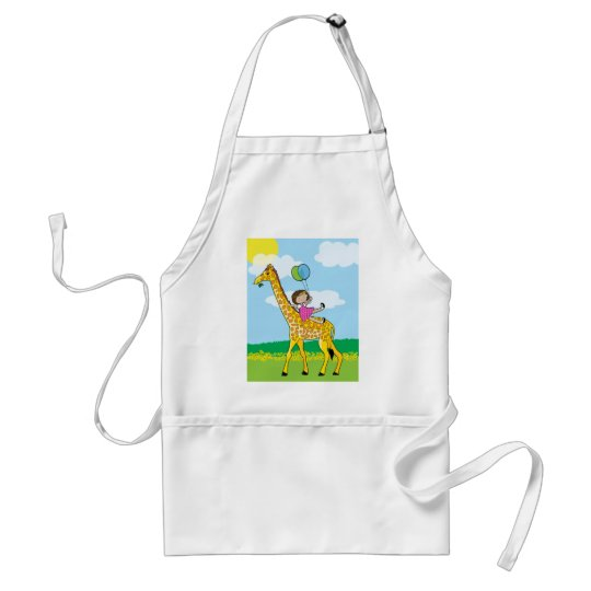 Little Girl and Giraffe Adult Apron