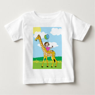 Little Girl and Giraffe Baby T-Shirt