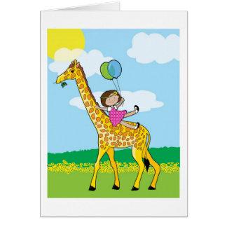 Little Girl and Giraffe Greeting Card