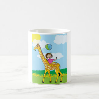 Little Girl and Giraffe Coffee Mug