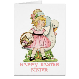 Little Girl and Goose Happy Easter Sister Card