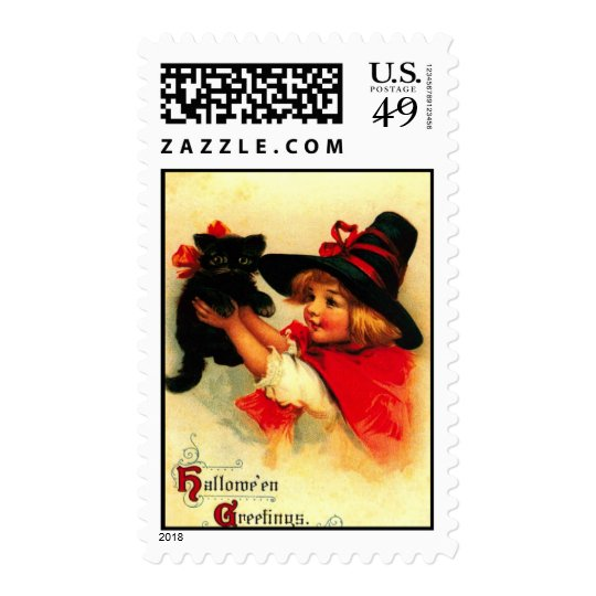 Little Girl And Her Black Cat Postage