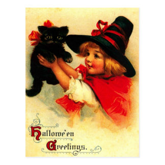 Little Girl And Her Black Cat Postcard