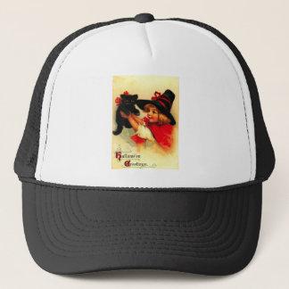 Little Girl And Her Black Cat Trucker Hat