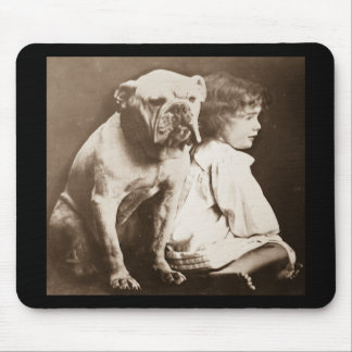 Little Girl and Her Bulldog Vintage Glass Slide Mouse Pad