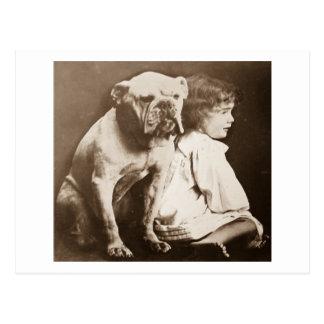 Little Girl and Her Bulldog Vintage Glass Slide Postcard