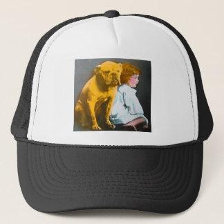 Little Girl and Her Bulldog Vintage Glass Slide Trucker Hat