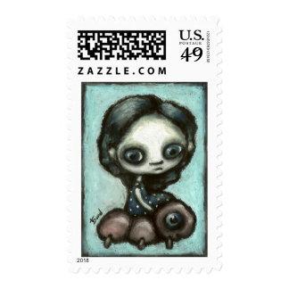 Little girl and her friend caterpillar stamp