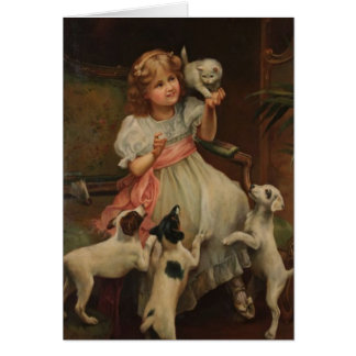 Little Girl and Her Pets, Card