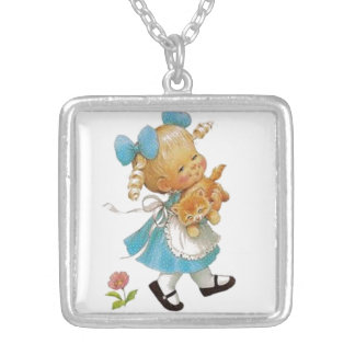 Little Girl and Kitten Silver Plated Necklace