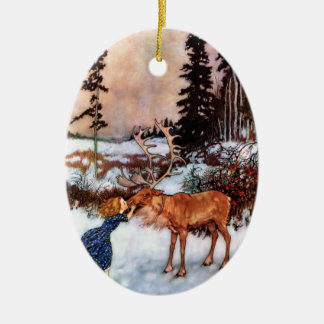 Little Girl and Moose Ceramic Ornament