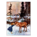 Little Girl and Moose Greeting Card