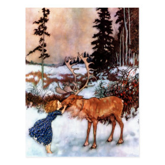 Little Girl and Moose Postcard