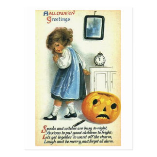 Little Girl and Pumpkin Postcard