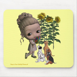Little Girl And Puppies Mousepad