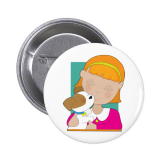 Little Girl and Puppy Pinback Buttons