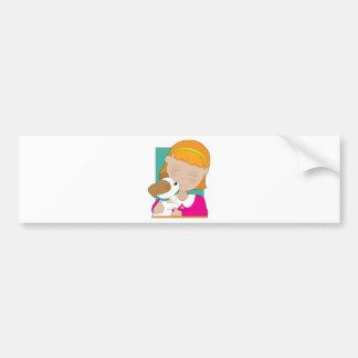 Little Girl and Puppy Car Bumper Sticker