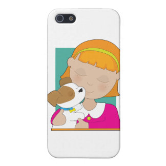 Little Girl and Puppy iPhone 5 Covers