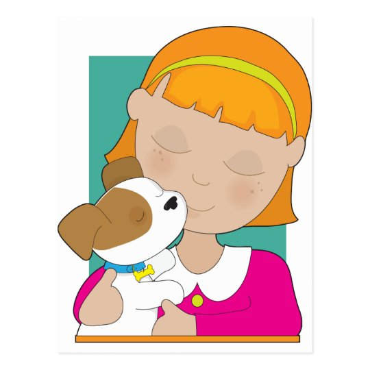 Little Girl and Puppy Postcard