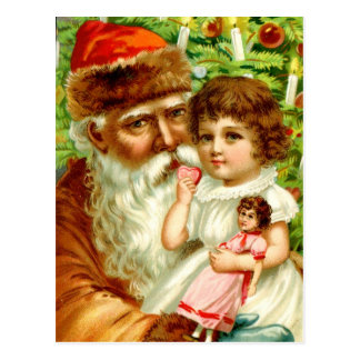 Little Girl and Santa Postcard