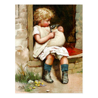Little Girl and Sick Puppy Postcard