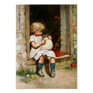 Little Girl and Sick Puppy Poster