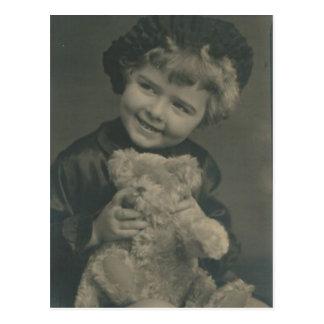 little girl and teddy bear post card