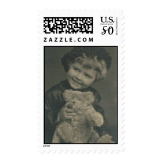 little girl and teddy bear postage stamp