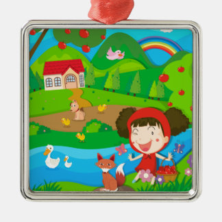 Little girl and wolf by the river metal ornament