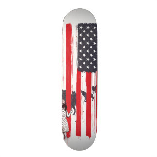 Little girl and wolves skateboard