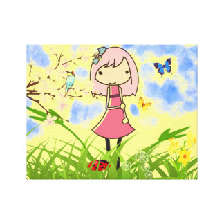 Little girl animated kids canvas