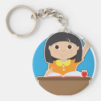 Little Girl at School Asian Keychain