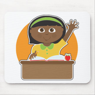 Little Girl at School Black Mouse Pad
