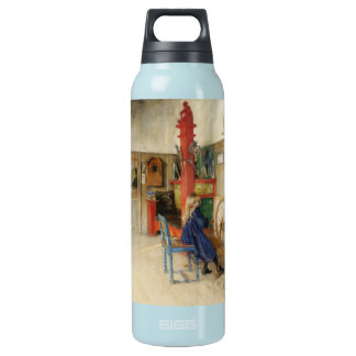 Little Girl at Spinning Wheel Insulated Water Bottle