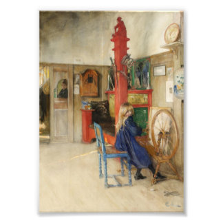 Little Girl at Spinning Wheel Photo Print