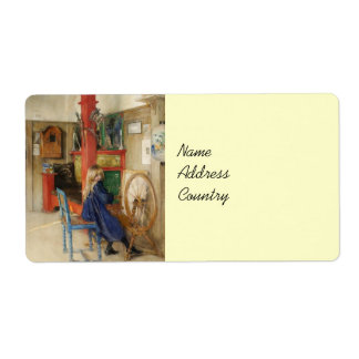 Little Girl at Spinning Wheel Shipping Label