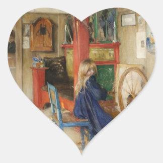 Little Girl at Spinning Wheel Heart Sticker
