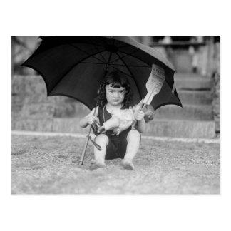 Little Girl at the Beach, 1923 Postcard