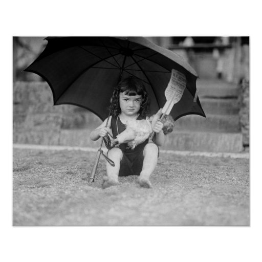 Little Girl at the Beach, 1923. Vintage Photo Poster