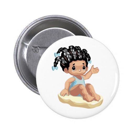 LITTLE GIRL BABY BEACH HAPPY CARTOON BLUE BROWNS BUTTON