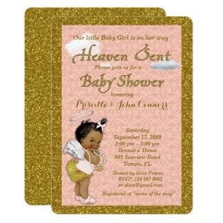 Little Girl Baby Shower Invitation,pink, gold Card