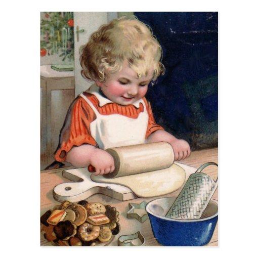 Little Girl Baking Cookies Postcards